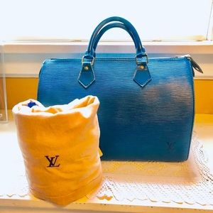 Louis Vuitton EPI Blue Speedy 30 HandBag